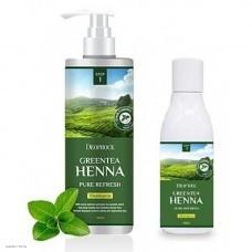 Обновляющий шампунь с хной и зеленым чаем DEOPROCE Greentea Henna Pure Refresh Shampoo