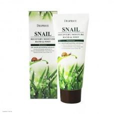 Крем с муцином улитки для кожи рук и ног DEOPROCE Snail Recovery Moisture Hand & Foot 100мл